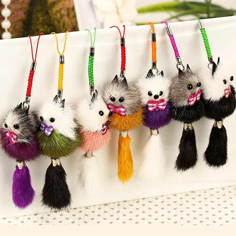 New Cute Fluffy Crown Bow-knot Ball Key Chain Rings Pompom Artificial Fur Charm Keychain Car Bag Key Ring Women Jewelry