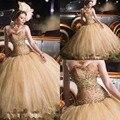 Ouro Longo Espartilho Vestidos Quinceanera Com Querida Cristais Espumantes Lantejoulas Pageant Vestidos de Festa Doce 16 vestido de Baile