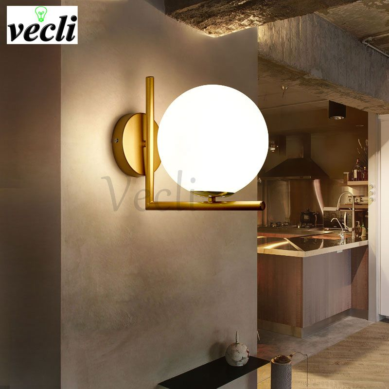 modern led wall lamp sconce for living room bedroom wall light iron body glass lampshade bathroom light retro lamp home lighting in led indoor wall lamps