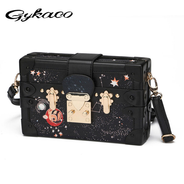 b11dccaa66c Gykaeo Sky Universe Women Lock Box Bag Handbag Catwalk Day Clutches Bag  Star Messenger Crossbody Bag Ladies Brand Designer Girl