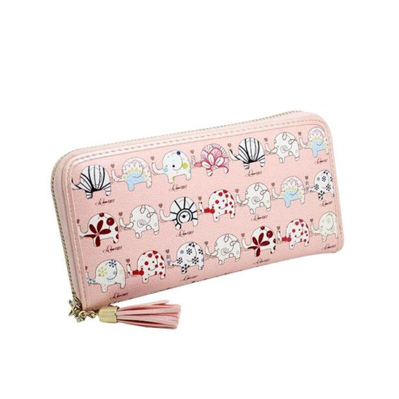 ᗔ new arrival women wallets fashion women printing tassel zipper