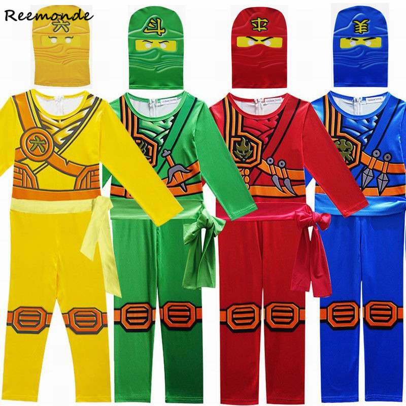 Children Ninjago Bodysuits Cosplay Costumes Ninja Superhero Streetwear Suits Jumpsuits Hat For Boys Kids Halloween Party Clothes