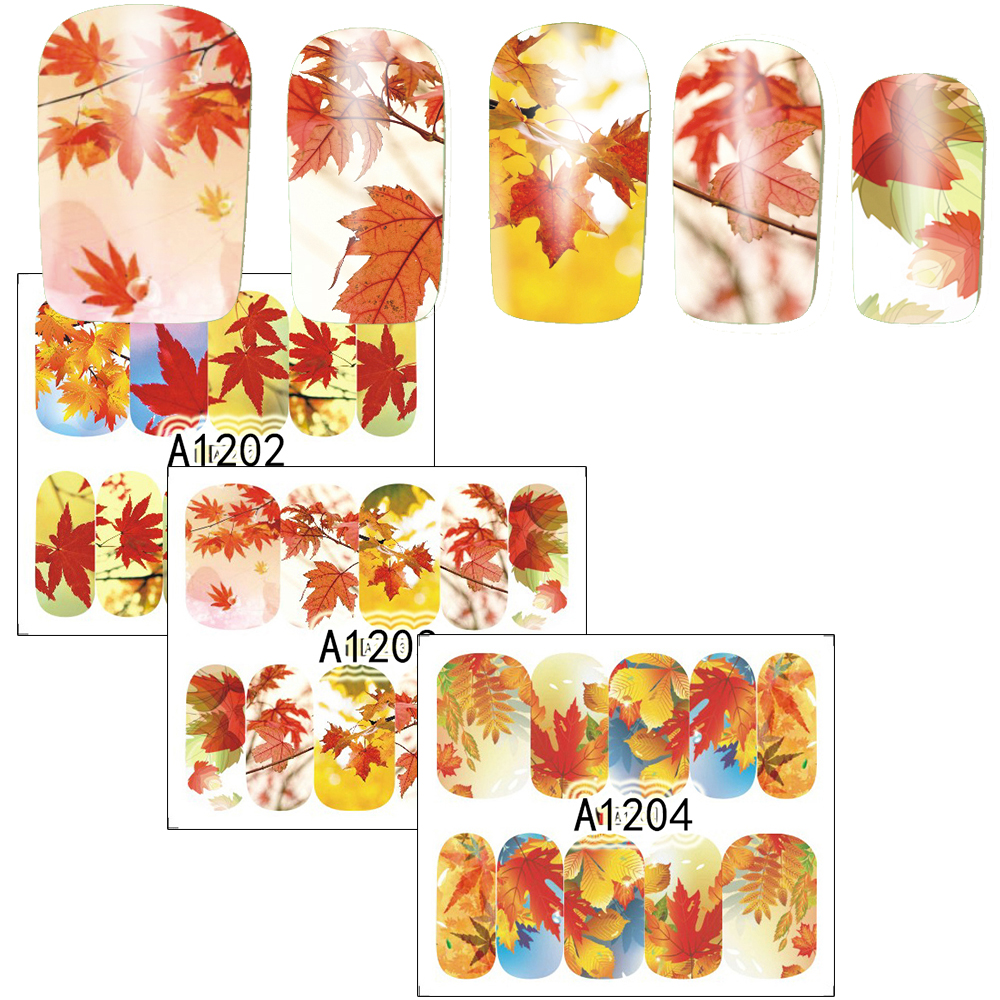 1xNail Art Water Transfer Sticker Full Cover Decals Autumn Maple Leaf Landscape Design Sticker Wrap Tips Decoration SAA1201-1212 12 sheets nail art water transfer sticker full cover decals french eiffel tower pisa italy design stickers wrap tips decoration