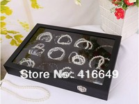 Darmowa wysyłka hurtownie 24 kwadratu siatki czarne drewno velvet biżuteria wyświetlacz box, naszyjnik/bransoletka/zegarki wyświetlacz storage box case