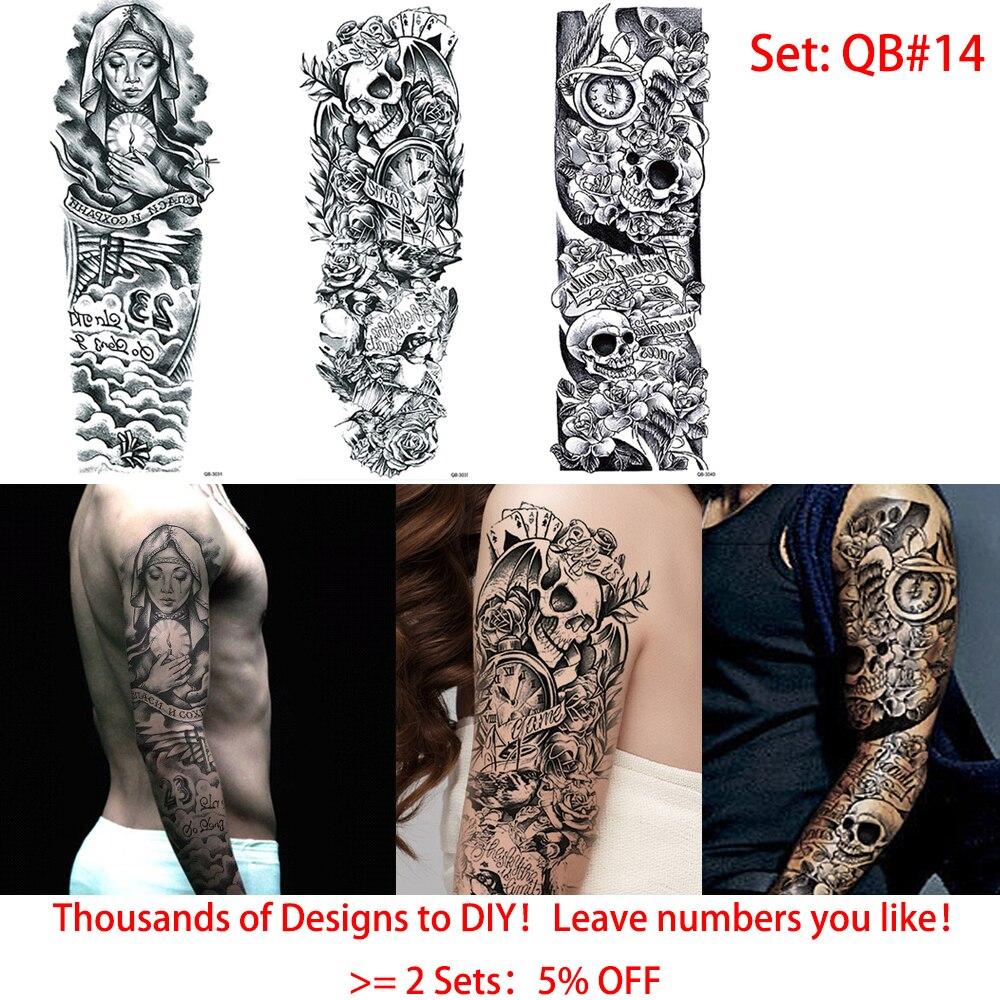 f0cf5717d ... glaryyears 3 Sheets Full Arm Tattoo Sticker Skull Clock Design Water  Transfer Body Art Temporary Big ...