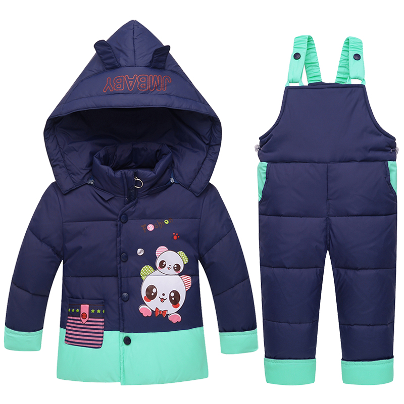 2017 Kids Snowsuits Winter Autumn Down Jackets For Boys Girls Children Clothes Toddler Cartoon Outerwear Clothing Set Overalls cotton baby rompers set newborn clothes baby clothing boys girls cartoon jumpsuits long sleeve overalls coveralls autumn winter