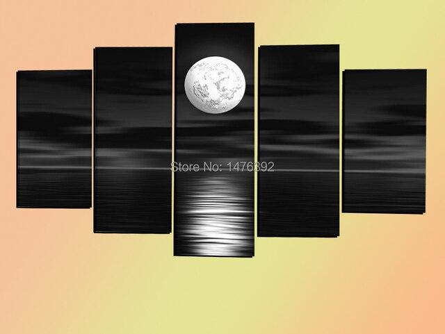 Wall Art Black Sea Full Moon Night Modern Abstract Handpainted Oil ...