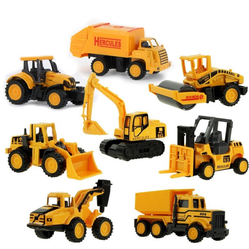 4 Styles Mini Mini Alloy Engineering Car Tractor Toy Dump Truck Model Classic Toy Cars for Children Boy Gift