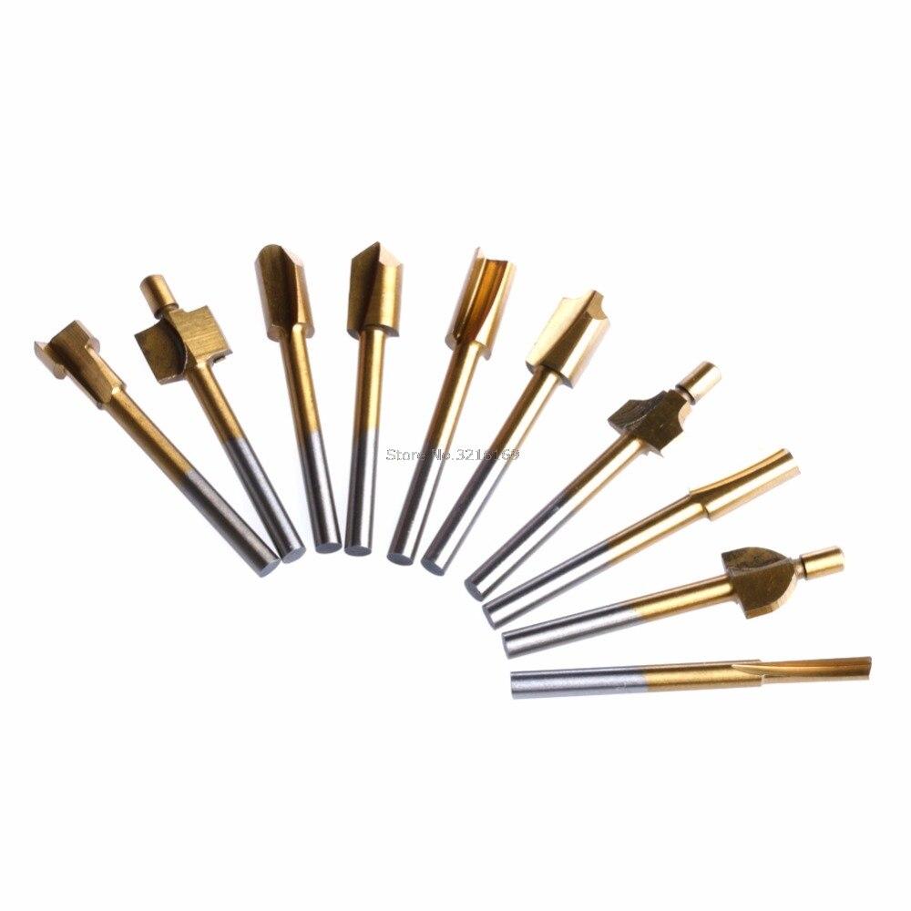 Für 10 Pcs Titan Mini Hss Router Bits Trimmer 1/8 3mm Schaft Dremel Für Dreh Werkzeug Förderung Warmes Lob Von Kunden Zu Gewinnen Dateien