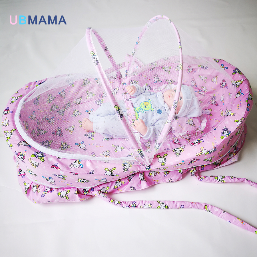 Portable Baby Bed With Mosquito Net Cotton Folding Pink Blue Wave Point Foldable Spongy Filling Bed 110*65*60cm