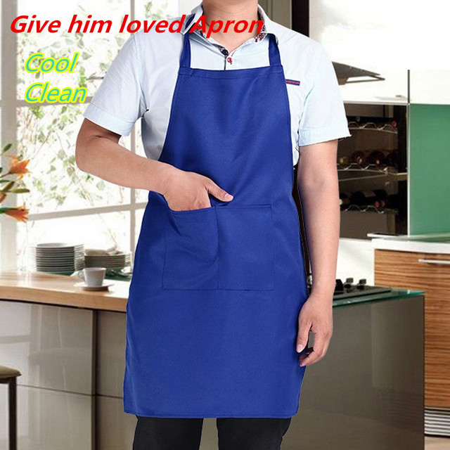 Kitchen Apron For Woman Men Cooking Thicken Cotton Polyester with Double Pocket Household Cleaning Sleeveless Apron