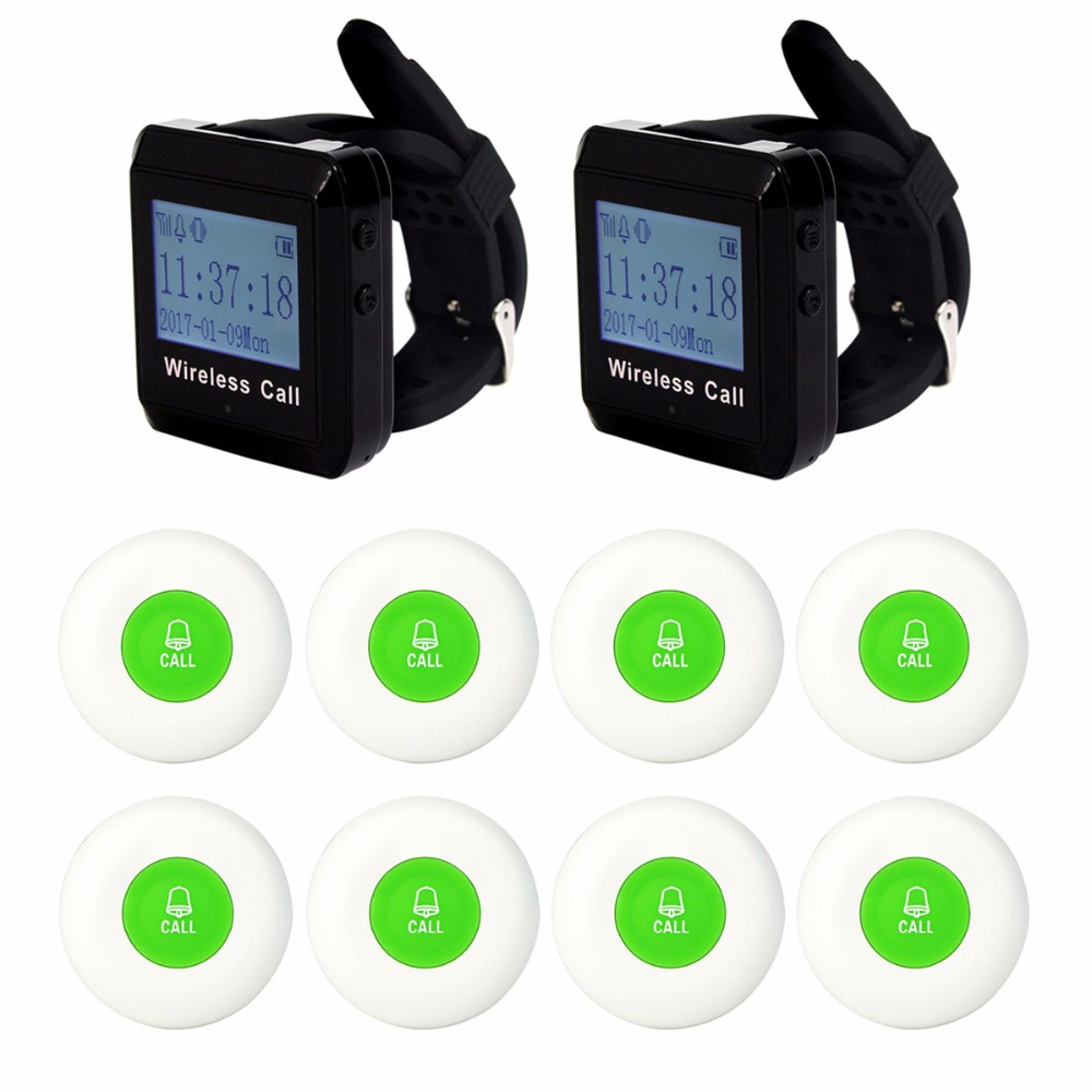 Wireless Pager Waiter Calling Paging System Call Pager 2pcs Wrist Watch Receiver+ 8pcs Call Transmitter Button 433MHz F3258 service call bell pager system 4pcs of wrist watch receiver and 20pcs table buzzer button with single key