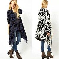 Winter Women Color Contrast Irregular Hippie Boho Ethnic Knit Tassels Cardigan Sweater Coat Cape Tops