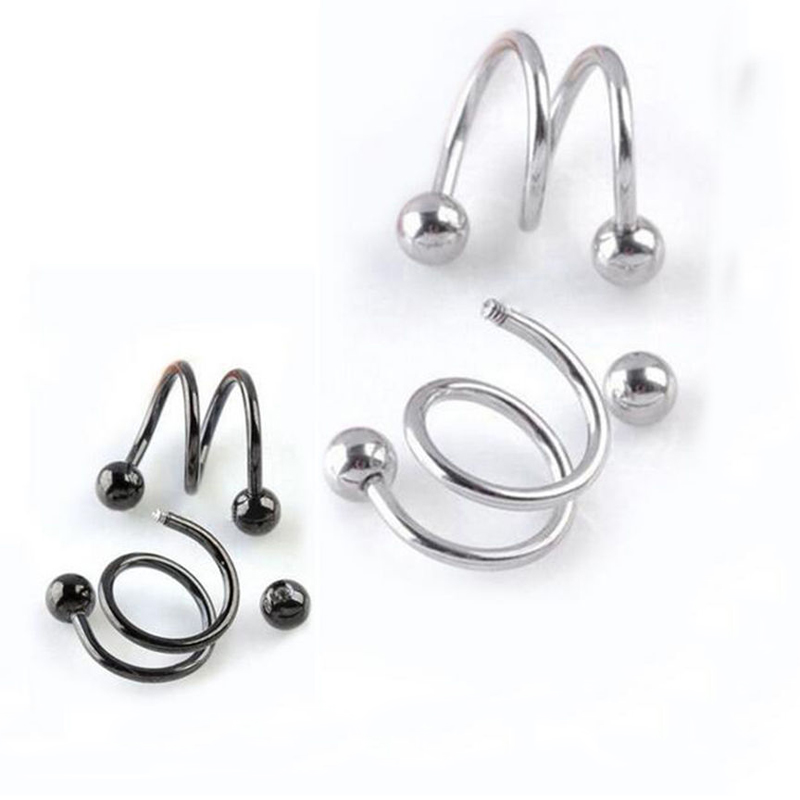 Hot 1 Pair Unisex Punk Women Men Fashion Spiral Helix Earrings Rock Cartilage Clip Body Piercing