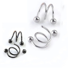 Hot 1 Pair Unisex Punk Women Men Fashion Spiral Helix Earrings Rock Cartilage Clip Body Piercing Jewelry 5 Colors