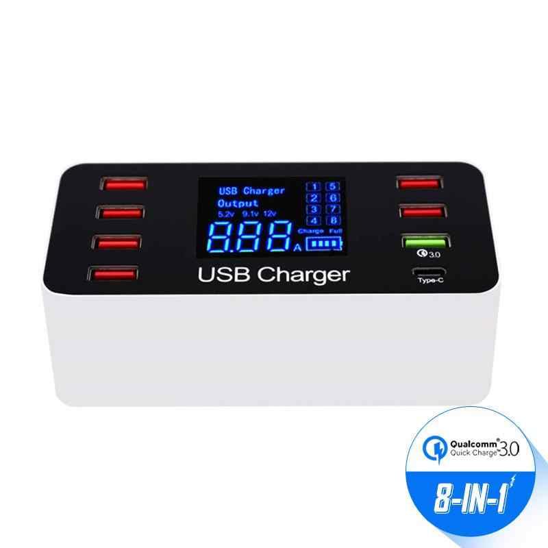 8 Port Multi Cepat USB Charger 3.0 Beberapa USB Ponsel Pengisian Station Universal USB HUB Charger QC 3.0 LED Display hadiah Gratis