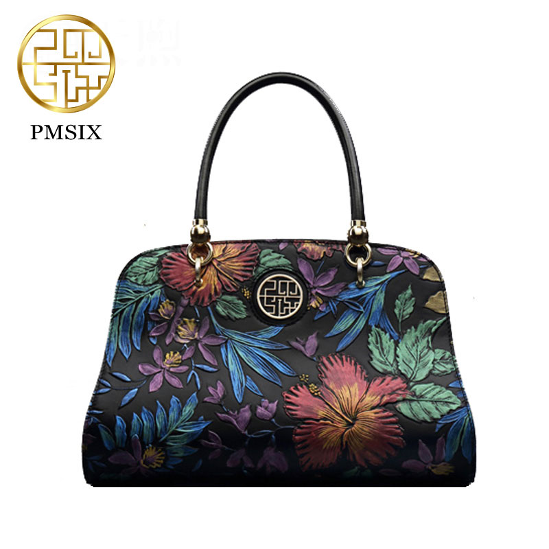 Retro women handbag Pmsix Chinese style autumn and winter leather bag shoulder bag black P110024