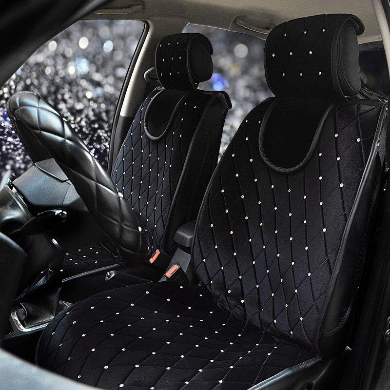 Роскошный чехол на заднее сиденье автомобиля со стразами, Универсальный Зимний плюшевый чехол на заднее сиденье для автомобиля, аксессуары