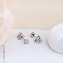 Exquisite Jewelry New Gold Silver Color Stainless Steel Triangle Crystal Stud Earrings For Kids /Women Accessories