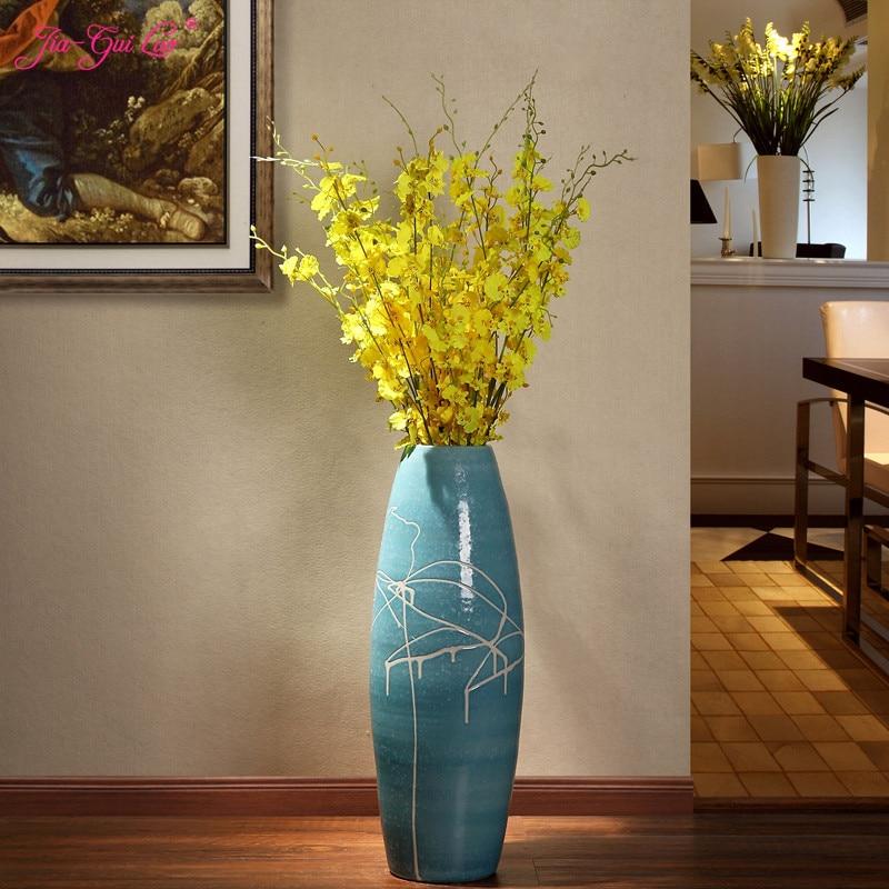 Jingdezhen ceramic living room floor large vase European minimalist modern dried flower arrangement home decoration ornam