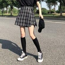 Женская юбка шорты с высокой талией, Осень зима 2018, женские школьные шорты в клетку в Корейском стиле преппи для девушек (X882)