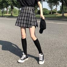 3 ألوان S L 2018 الخريف والشتاء عالية الخصر السراويل التنانير النسائية الكورية نمط preppy فتاة المدرسة منقوشة السراويل النسائية (X882)
