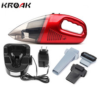 Red 60W Cordless Mini Portable Vacuum Cleaner For Car Dry Wet Handheld Super Suction Dust Collector