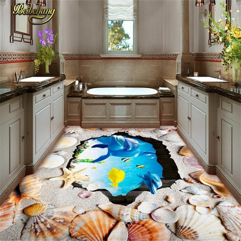 Beibehang custom beach shells floor tiles wall paper for Room decor 3d self adhesive wallpaper
