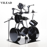 VILEAD 7.5'' Iron Drum Player Figurine Vintage Home Decor Musician Miniatures Music Player Model Crafts for Office Home Decor