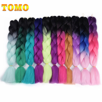 TOMO Kanekalon Jumbo Braid Hair 24inch 60cm Crotchet Braids 100 Colors Ombre Synthetic Braiding Hair Black