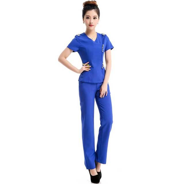 2016 negócios de Moda carreira senhoras azuis uniformes desgaste do trabalho Fino Com Decote Em V roupas Formais de trabalho mulheres escritório plus size fatos de calça
