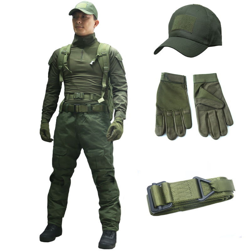 TAK YIYING Army Combat Uniform Military Tactical BDU Hunting clothes Army Green Assault Suit With Hats Belt Gloves Shirt PantsTAK YIYING Army Combat Uniform Military Tactical BDU Hunting clothes Army Green Assault Suit With Hats Belt Gloves Shirt Pants