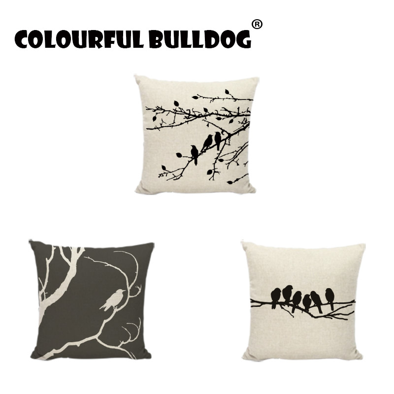 Vintage Ink Painting Cushions Black Birdcage Bird In The Tree Pattern Home Decor Bedroom Farmhouse Sofa Seat Square Pillow Cases
