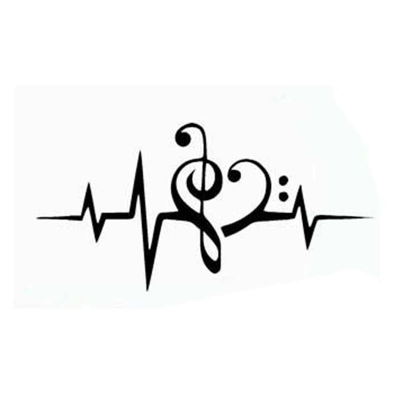 16.6cm*8.3cm Music Heartbeat Monitor Vinyl Car Styling Stickers Motorcycle Black/Silver S3-5680