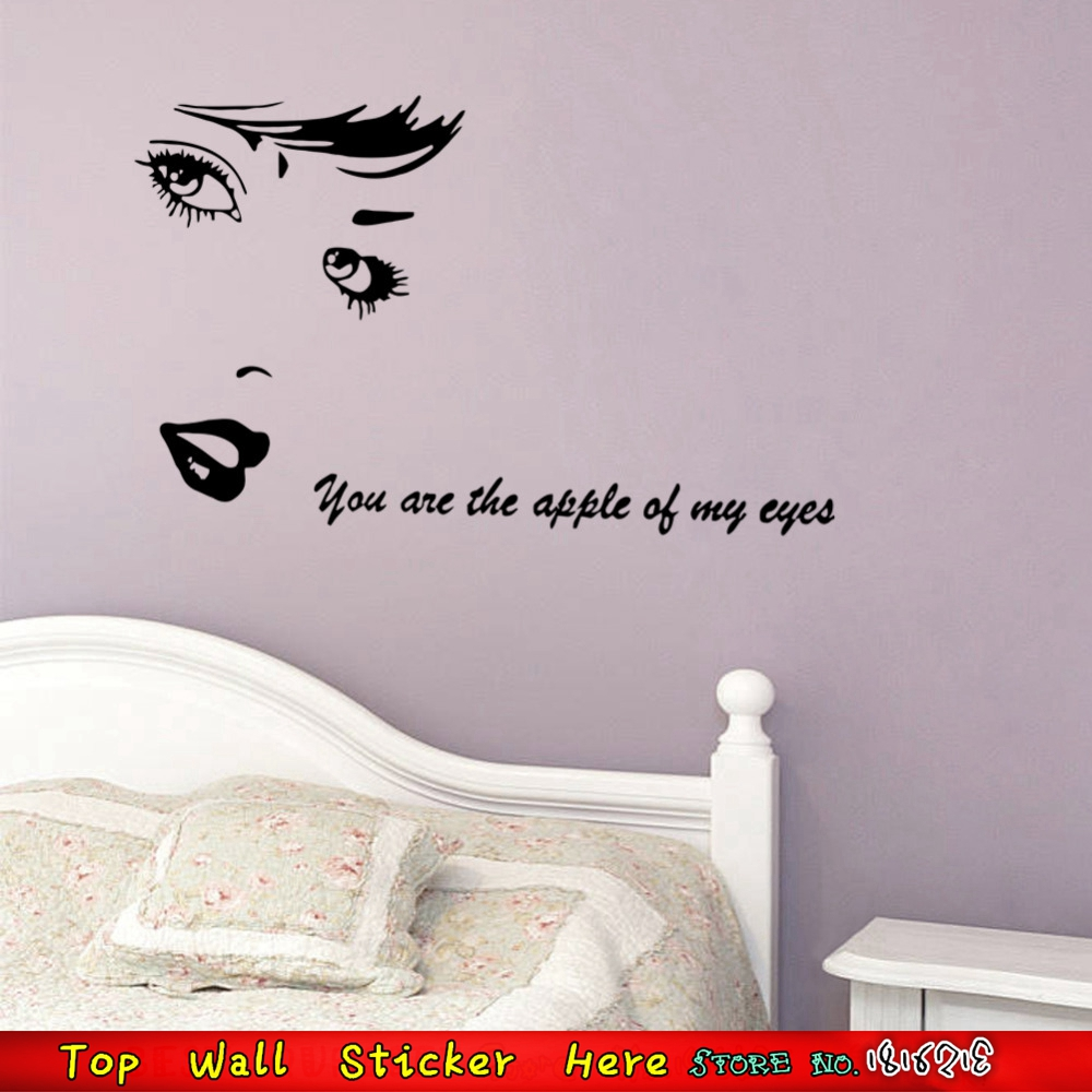 Amazing Aliexpress.com : Buy Sexy Women Audrey Hepburn Wall Stickers U0027u0027You Are The  Apple Of My Eyeu0027u0027 Love Quotes Vinyl Wall Art Sticker Mural Poster From  Reliable ... Part 29
