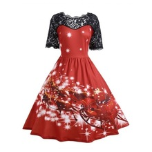 new mama style Christmas cartoon patchwork dresses lace vintage A-Line short  ankle-length print fashion o-neck