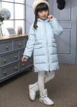 Новая зимняя 2016 моды качество дети пуховик с капюшоном толстые девушки согреться долгая зима Утка вниз верхняя одежда дети парки пальто