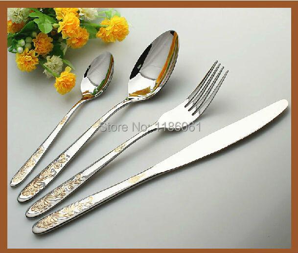 24pcs Stainless Steel Flat ware <font><b>Sets</b></font> Gold Plated Cutlery Dinner <font><b>Set</b></font> Tableware Silverware Dinner Fork Dinnerspoon <font><b>Knife</b></font>
