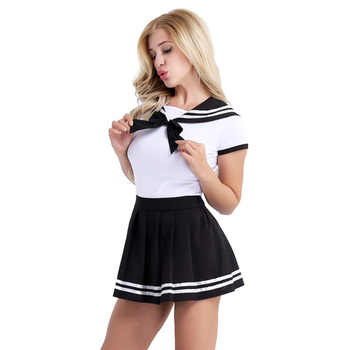 iEFiEL Womens Adult Baby Diaper Lover School Girls Snap Crotch Romper with Mini Pleated Skirt Clubwear Costume Cosplay Clothing