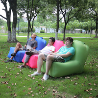 Portable Inflatable Air Sofa Bed Camping Lounger Couch Sleeping Lazy Air Chair with Adjustable Backrest Beach Park Backyard Pool