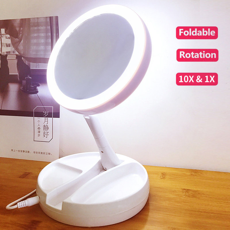 LED lights Mirror Folding 10x Magnification Makeup Mirror Compact Stand Hand Cosmetic Mirror Woman Pocket Mirrors