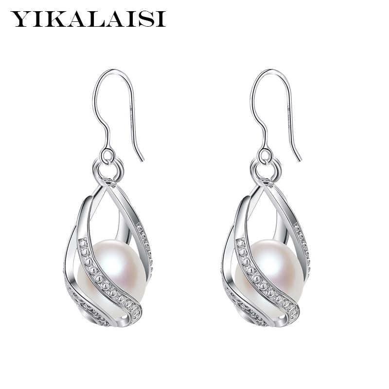 YIKALAISI 925 Sterling Silver Natural Freshwater Pearl Cage Earrings Fashion Jewelry For Women 8-9mm Pearl Earrings 4 Colour