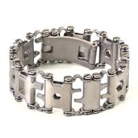Official Authentic Men Outdoor Tread Multifunctional Bracelets 304 Stainless Steel Walker Wearable Tools Vintage Punk Bracelets