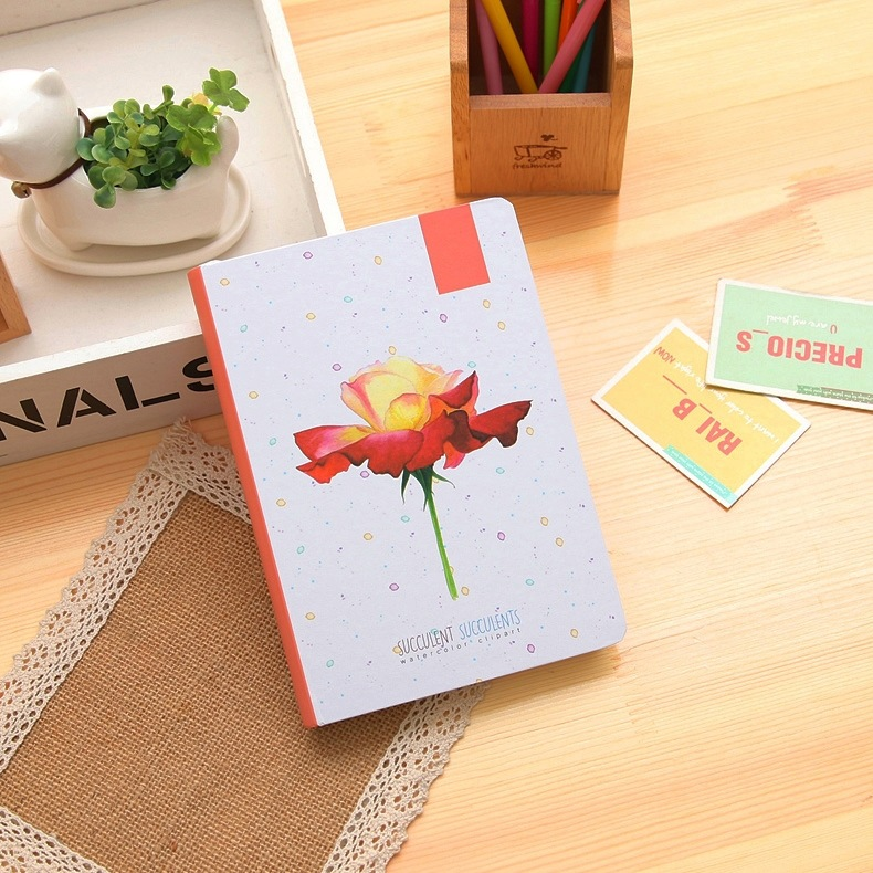 Lovely Flowers Theme Creative Hardcover Diary Book 12.8*18.6cm Colorful Notebook Gift School Office Supplies Free Shipping the lovely colorful world and flamingo fashion diy a5 journal pu leather 216p 2017 students office supplies free shipping