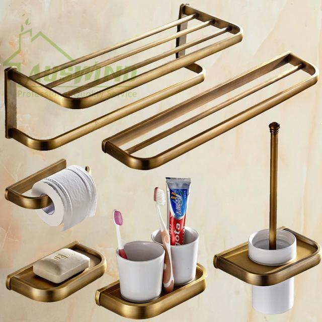 Luxury Brushed Bathroom Accessories Antique Square Base Copper ...