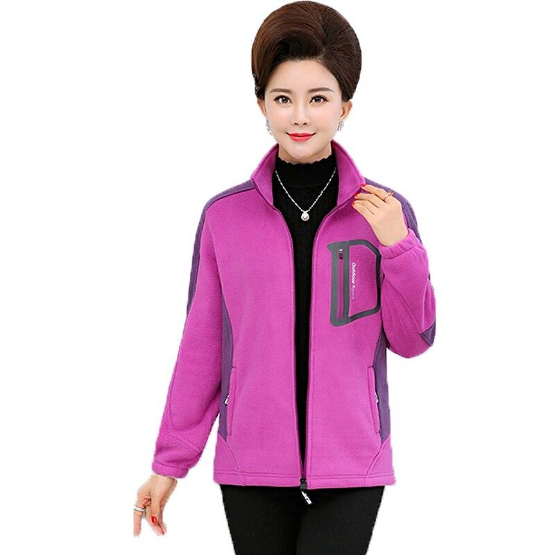 Automne femmes décontracté polaire vestes violet rouge chaud manteau femme Zipper polaire vêtement d'extérieur en polaire dame loisirs léger manteau 4XL
