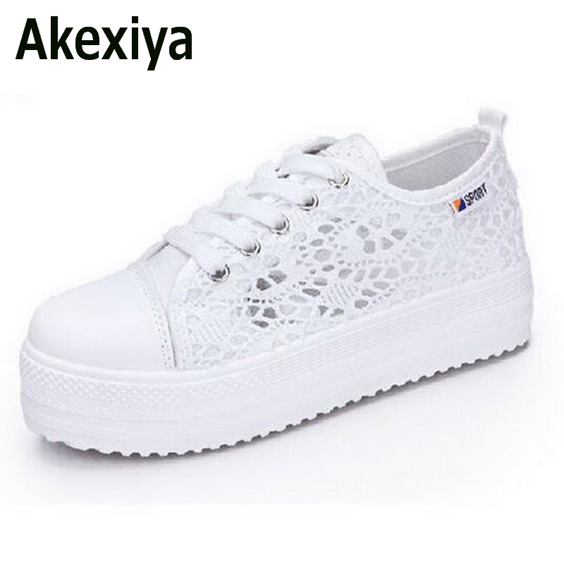 Akexiya Summer Women Shoes Casual Cutouts Lace Canvas Shoes Hollow Floral Breathable Platform Flat Shoe sapato feminino dreamshining summer women shoes casual cutouts lace canvas shoes hollow floral breathable platform flat shoe sapato feminino