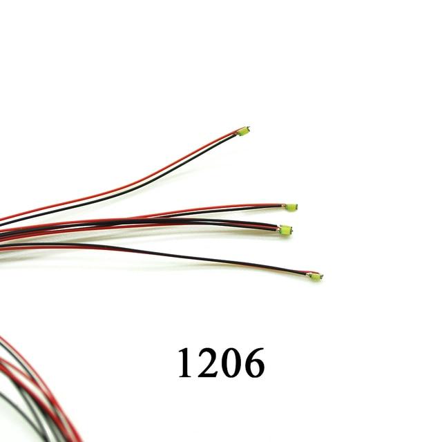 40 sztuk 1206 SMD Model pociągu HO N OO skala wstępnie lutowane mikro litz przewodowe diody LED przewody 20 cm