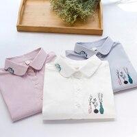 Women Shirt Blusas Femininas Tops Elegant Ladies Formal Office White Blouse Doll Collar Top Peter Pan