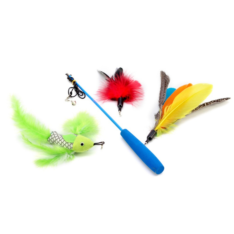 New 1 Set Lovely Cat Teaser Wand Natural Feather Cat Toy on a 35-Inch Wand with 3 Furry Feathers gatos Cats Supplies9727